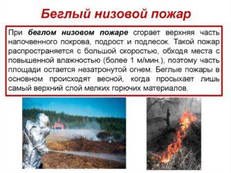 Скорость распространения беглого низового пожара